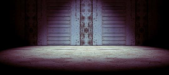 Fondo puerta de madera y suelo agrietado