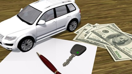 white car contract  with a car and money