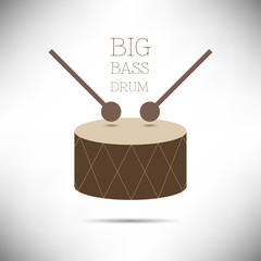 Big Bass Drum flat design vector illustration