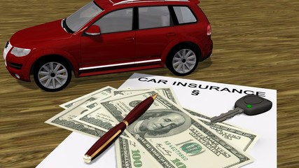 car insurence contract  with a car and money