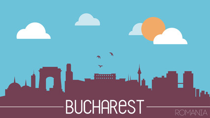 Bucharest Romania skyline silhouette flat design vector