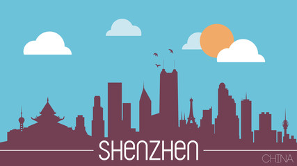 Shenzhen China skyline silhouette flat design vector