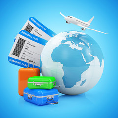 Air Travel and Vacation Concept. Earth Globe with Airline Boarding Pass Tickets, Luggage and Flying Passenger Airplane isolated on gradient background. ( Elements of this image furnished by NASA )
