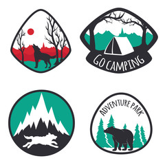 Set of camping emblems with mountains, deers, wolves and bear