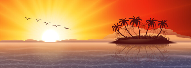Wall Mural - Panoramic background with tropical island at sunset