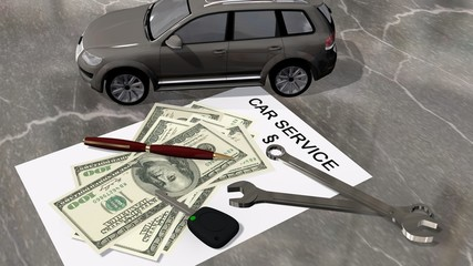 car service contract with a car, money and wrench