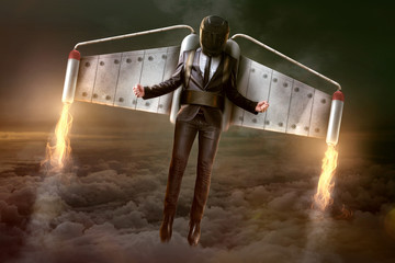 Jetpack Businessman in Flight