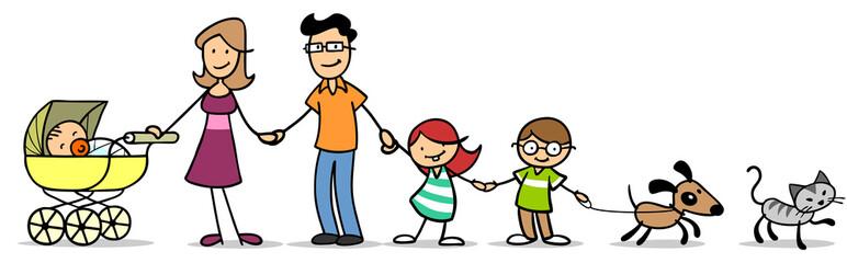 Kinder mit Familie und Baby und Haustier