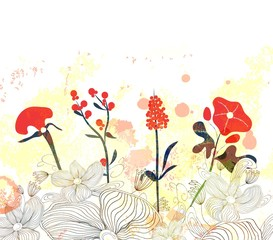 Beautiful floral watercolor background