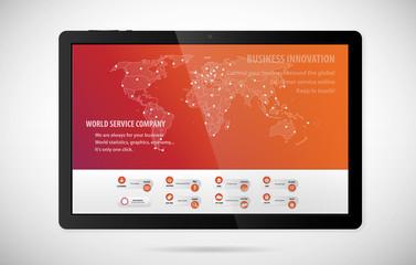 World technology tablet illustration