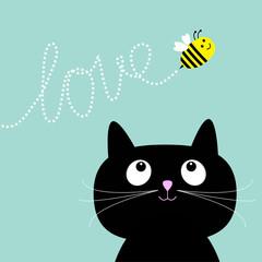 Cute cartoon cat. Bee dash line love Flat design style.
