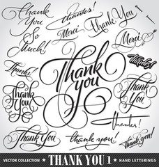 Set of custom THANK YOU hand lettering (vector)