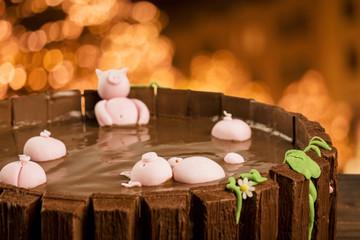 Farm themed chocolate cake