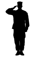Silhouette of a soldier saluting isolated on white background.