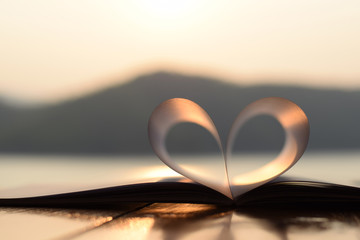 heart shape from paper book at sunset (vintage background)