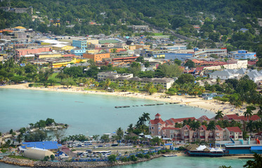 Ocho Rios aerial view from the top of Mystic Mountain