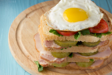 Sandwich with smoked pork, pickles, tomato and fried egg