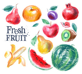 fruit vector logo design template. fresh food or gardening