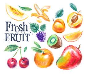 fresh food vector logo design template. ripe fruit or harvest