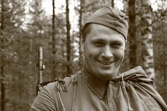 Man Acting Red Army Soldier