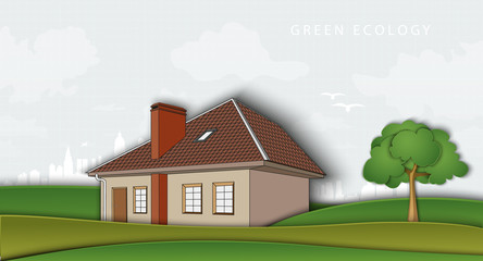 green ecology. air without pollution. house in the open field