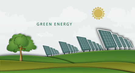 solar panels, batteries, on clean field. concept clean energy