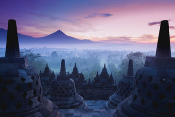 Poster Indonesia Borobudur Temple is sunrise, Yogyakarta, Java,