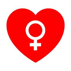Icono corazon con simbolo femenino