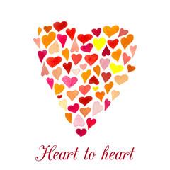 Vector heart made of little watercolor hearts. Mood emblem.