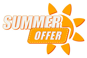 summer offer with sun sign, flat design label