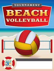 Beach Volleyball Tournament Flyer Illustration