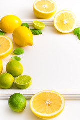 Fresh lime and lemon fruits isolated on white background.
