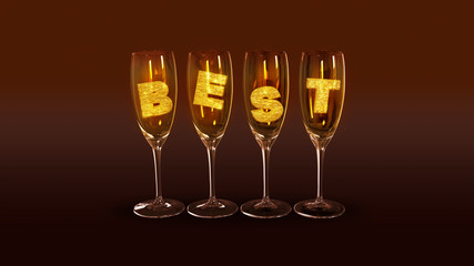 "A few glasses with the text ""best"""