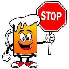 Beer Mascot with Stop Sign