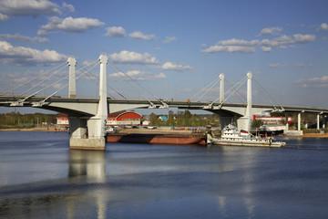 Bridge over the Volga river in Kimry. Tver Oblast. Russia