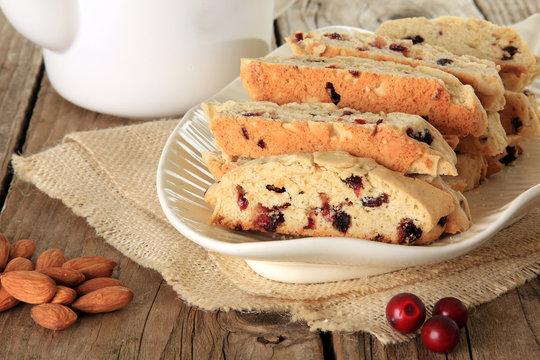 Almond and cranberry biscotti