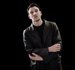 Handsome man portrait wearing leather coat
