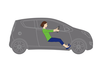 Generic vehicle and female driver, line drawing illustration