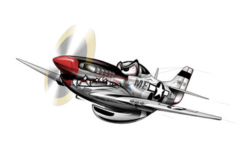 P-51 Mustang WWII Airplane Cartoon