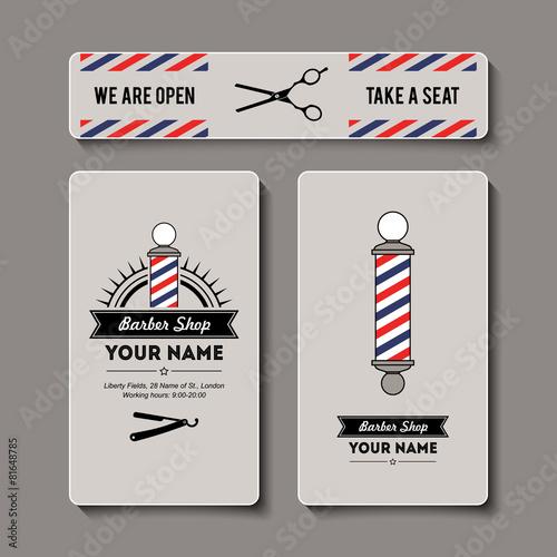 Hair salon barber shop business card template set stock image and hair salon barber shop business card template set wajeb Choice Image