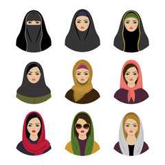 Muslim girls avatars set. Asian muslim traditional hijab collect