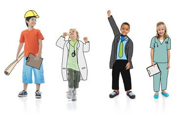 Group Children Dreams Job Uniform Concept