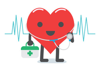 Heart doctor character cartoon