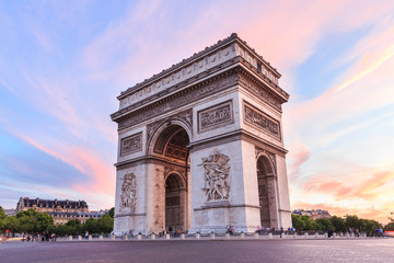 Wall Murals Paris Champs-Elysees at sunset in Paris