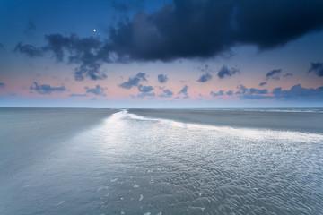 Moon over North sea coast