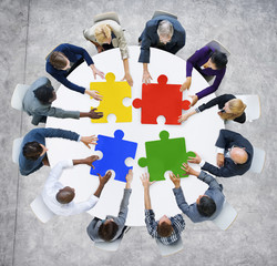 Business People Jigsaw Pieces Connection Concept