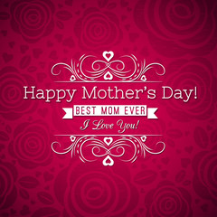 Red Mother's day greeting card  with roses and wishes text,  vec