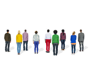 Multiethnic Group of People Standing Rear View Concept