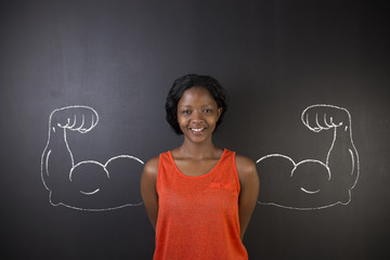 African American woman with healthy strong arm muscles