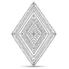 Tribal doddle rhombus isolated on the white background.